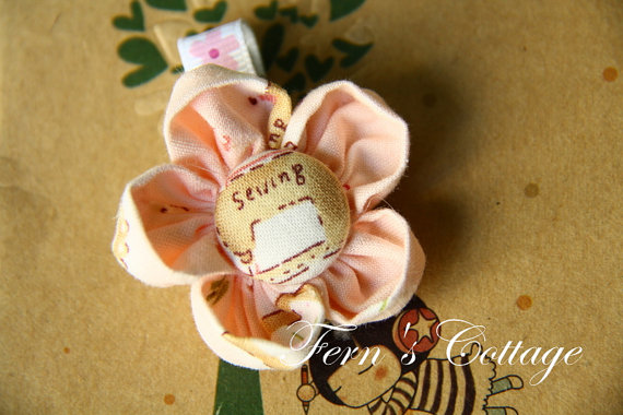 Fabric Flower Hair Clip - Pink Colour on Luulla