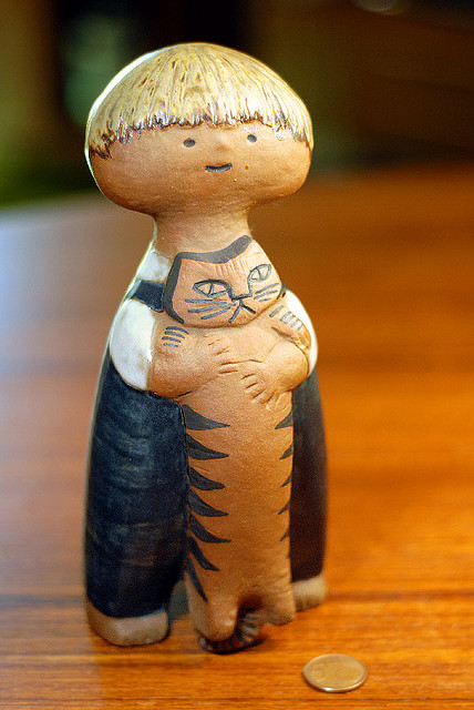 "Lisa Larson ""Pelle with Cat"" Pottery 