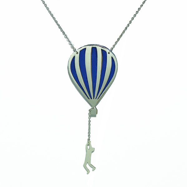 Hot air balloon long necklace gold - $75.00 : Virginie Millefiori, Whimsical Colorful Jewelry