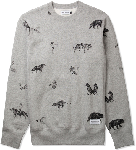 Raised by Wolves Heather Grey The Jungle Book Crewneck | Hypebeast Store