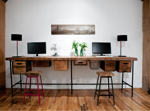 reclaimed wood work table connected by UrbanWoodGoods on Etsy