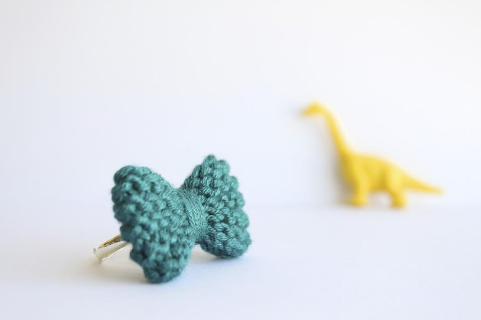 Bow Ring Knitted In Turquoise, Cerulean: READY TO SHIP | Luulla