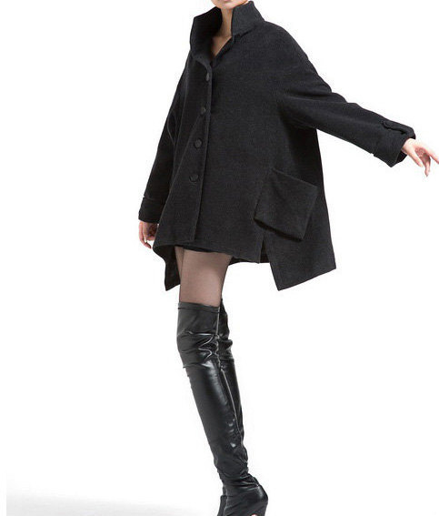 Winter asymmetry Wool overcoat cape cloak wool coat by MaLieb