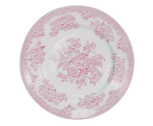 Pink Asiatic Pheasants Plate 17.5cm. Buy Blue and White China from the Secure Burleigh Online Shop