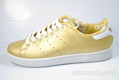 Adidas Stan Smith 2 Lea Women gold-white shoes customize adidas soccer cleats