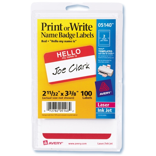 "Avery AVE5140 Print Or Write Hello Name Badge Labels, Removable, 2-11/32""x3-3/8"", 100 Per Pack, Red 