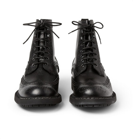 Givenchy - Pebbled Leather Brogue Boots | MR PORTER