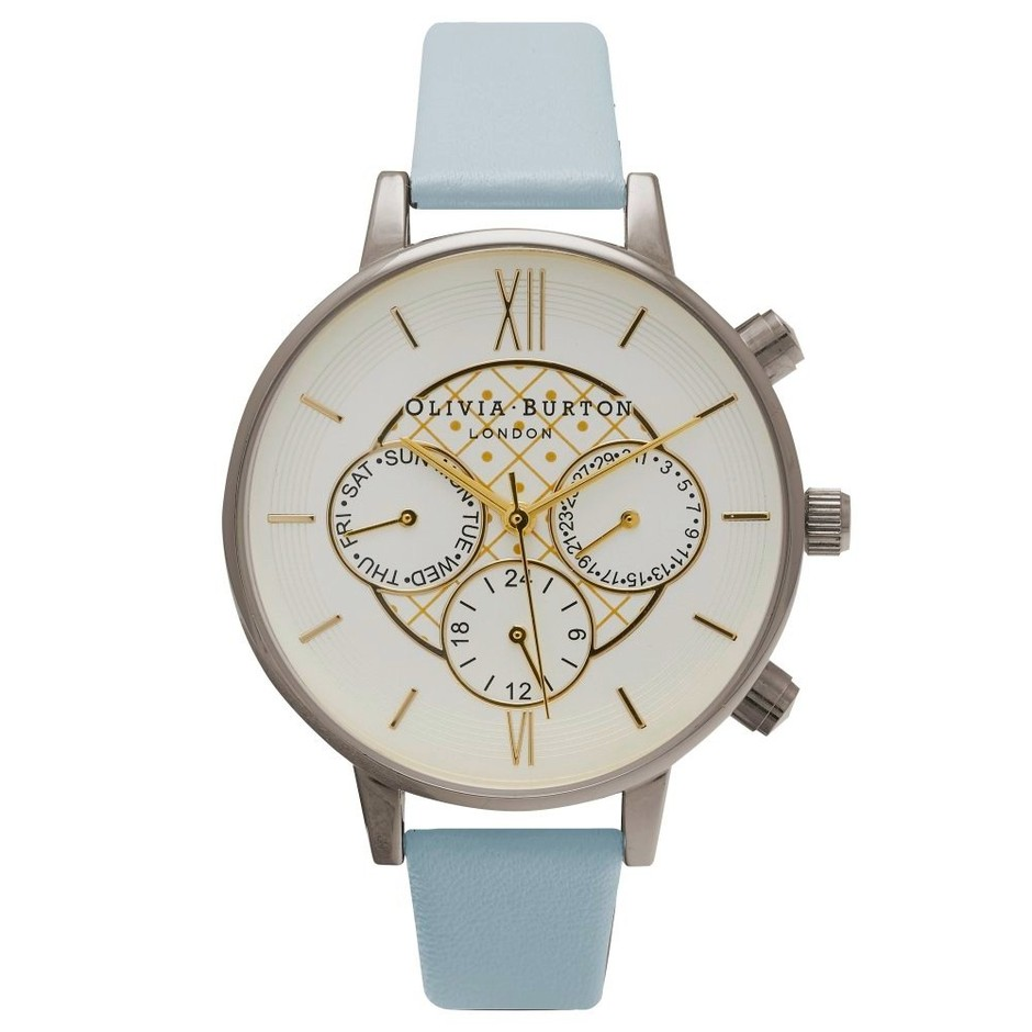 Olivia Burton Big Dial Chrono Gold Detail Powdre Blue & Silver watch in silver