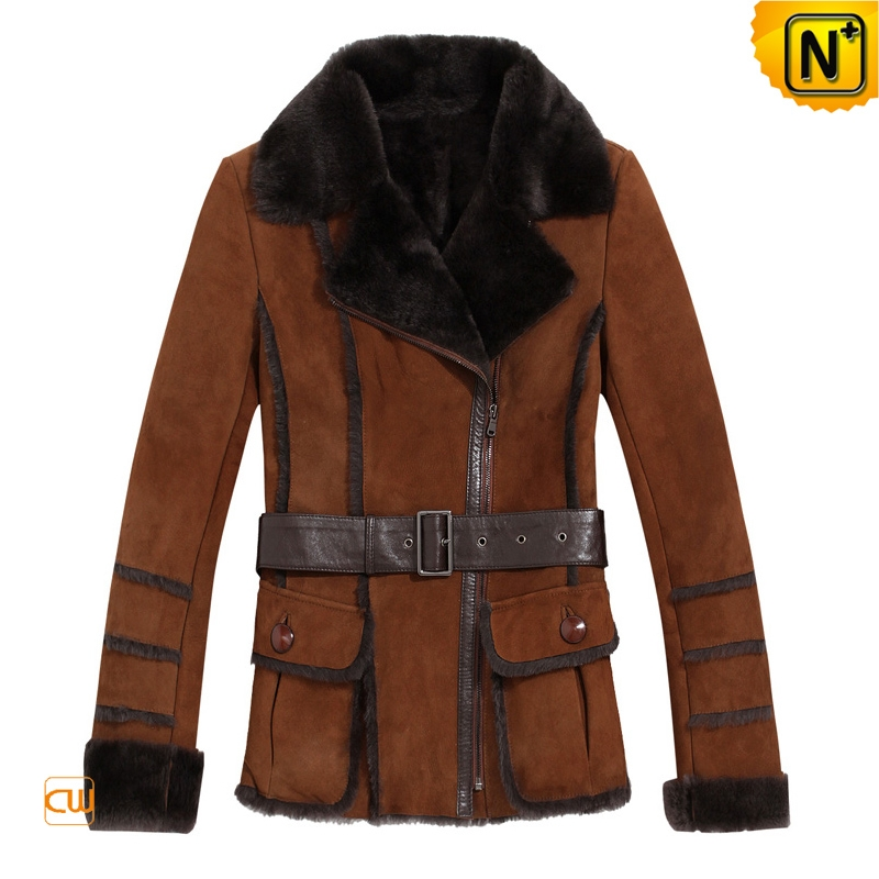 Brown Fur Lined Leather Coats Women | CWMALLS