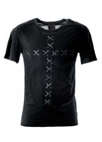 Queen of Darkness Cross Lacing T-Shirt   Attitude Clothing