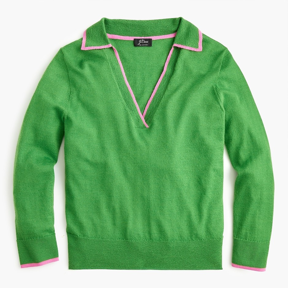 Tipped polo sweater in cashmere - Women's Sweaters | J.Crew