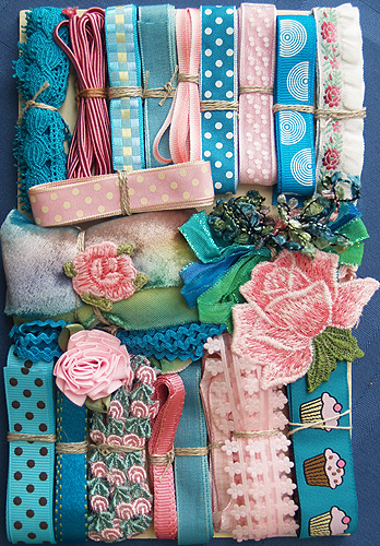 Product Details - Nifty Thrifty Dry Goods: Crazy Quilt Embellishment Assortment - Turquoise & Pink, Crazy Quilt Assortments, CQEA-turq-pink