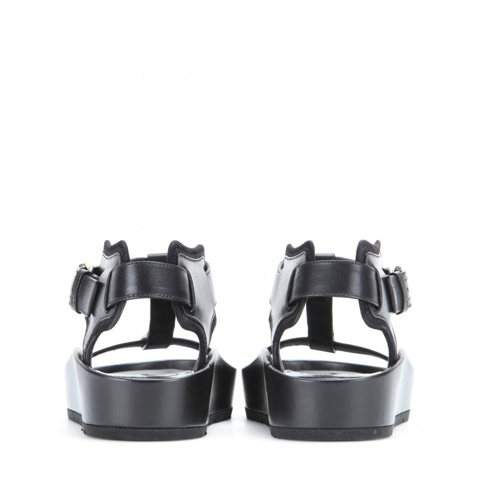 mytheresa.com - Classic Strap T Bar leather sandals - Flat - Sandals - Shoes - Balenciaga - Luxury Fashion for Women / Designer clothing, shoes, bags