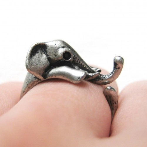 Miniature Elephant Wrap Ring in Silver Sizes 4 to 10 Available from Dotoly on Storenvy