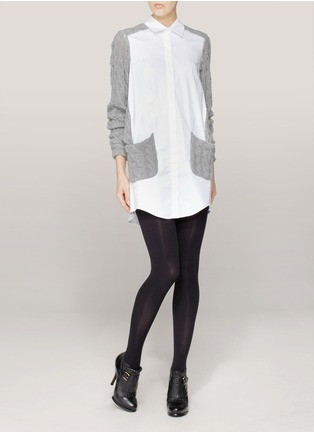Thakoon - Contrast-knit cotton-poplin shirt dress | Grey Tunic Tops | Womenswear | Lane Crawford - Shop Designer Brands Online