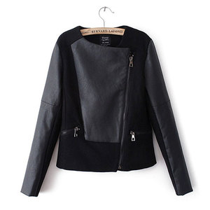 lulula-fashion shopping mall — [ghyxh3600831]European Style Cool Fur PU Spliced Black Coat