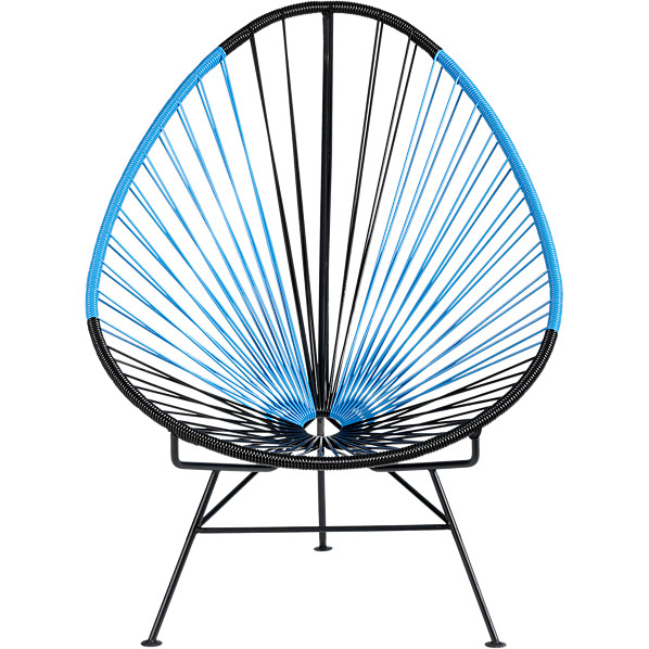 acapulco black/blue lounge chair in outdoor furniture | CB2