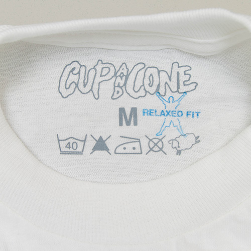 Logo Tee - White x Blue [Relaxed Fit] - cup and cone WEB STORE