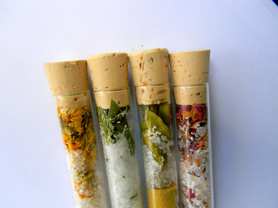 Organic Bath Salts4 Test Tubes Sampler Set100 by KhushiOrganics
