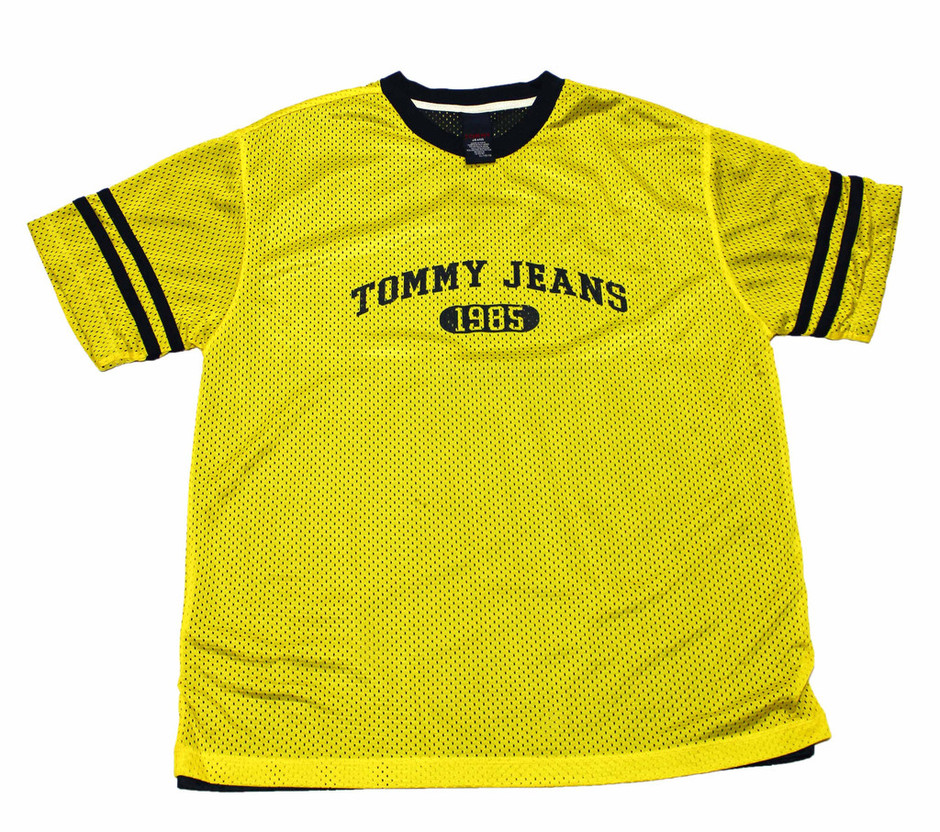Vintage 90s Tommy Jeans Yellow/Navy Jersey Shirt Mens Size Large | Vintage Mens Goods