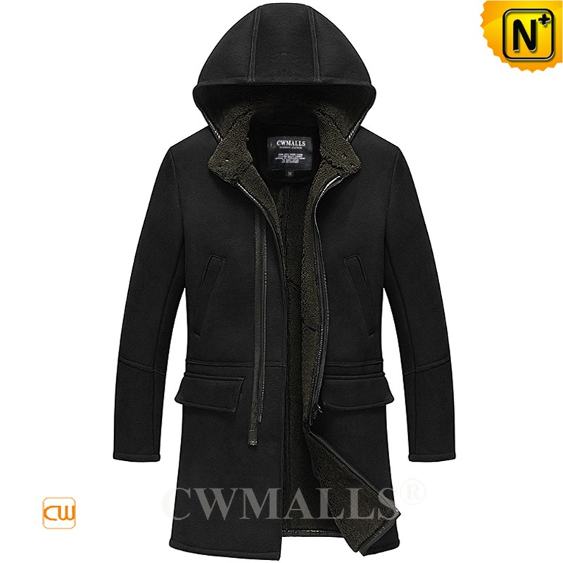 CWMALLS® Men Merino Sheepskin Coat with Hood CW818566