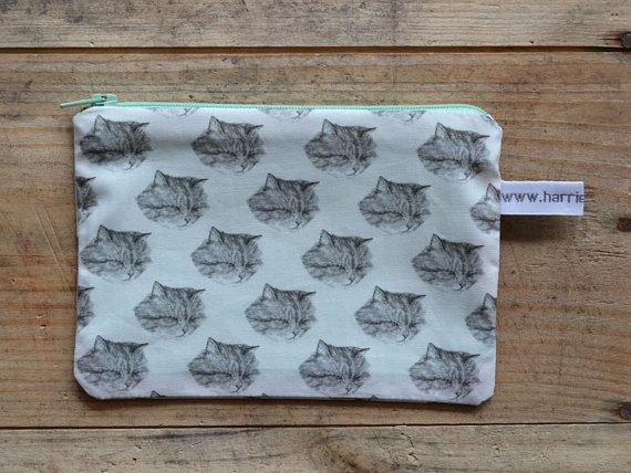 cat pouch small kitty pencil case handmade by harrietgray