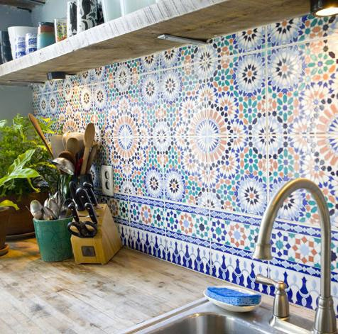 ☆ Home-decor ☆ / colorful tile, rustic wood counter.
