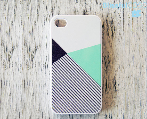iphone 4 case mint black color block with stripe by BlissfulCASE