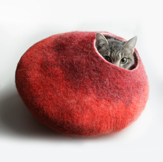 Warm Orange Red Bubble Hand Felted Wool Cat Bed / by vaivanat