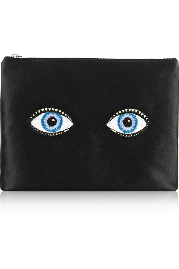 Charlotte Olympia|Glance Alot embroidered satin pouch|NET-A-PORTER.COM