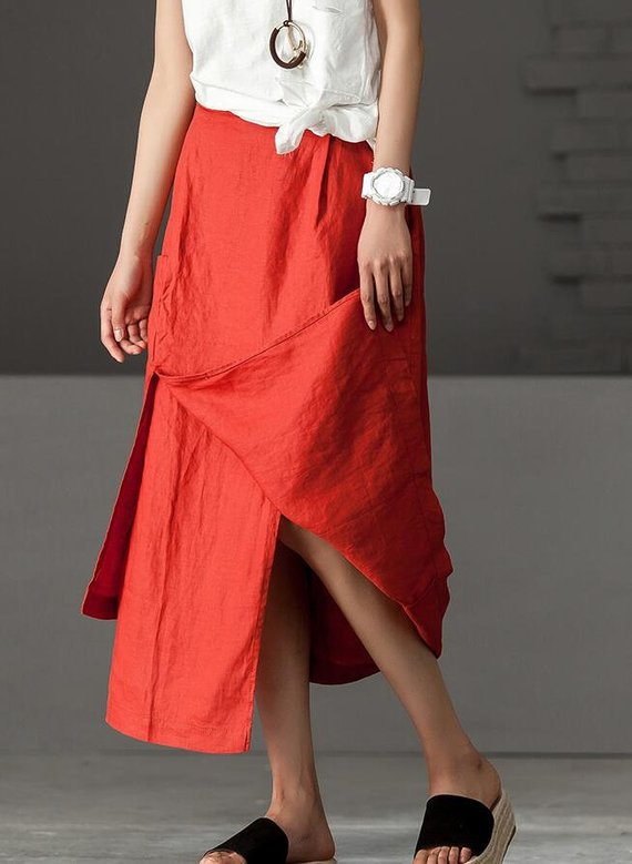 Linen skirts women skirts in Brownred maxi skirt black
