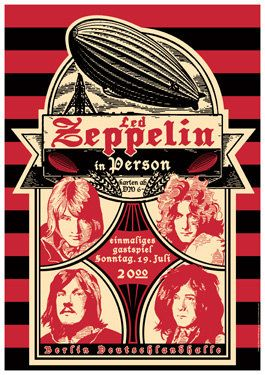 led zeppelin july 19th 1970 berlin germany concert poster sumally. Black Bedroom Furniture Sets. Home Design Ideas