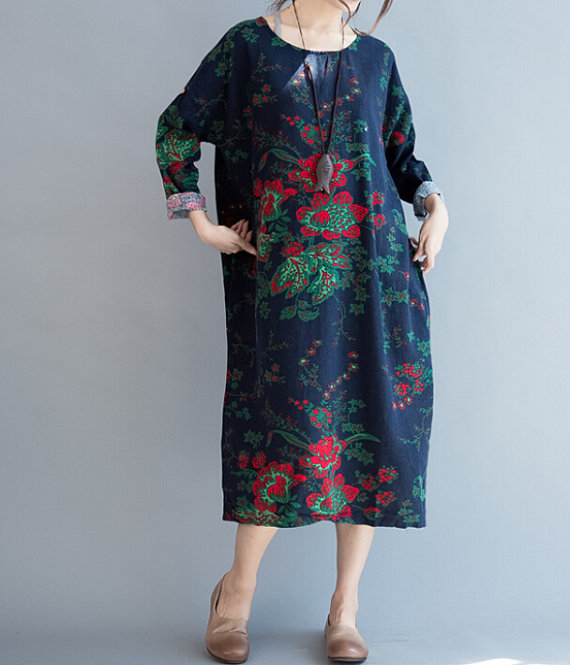 Loose fitting Maxi dress Cotton gown Loose maternity by MaLieb