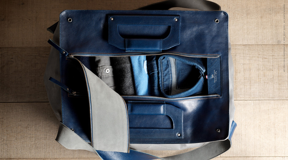 Premium leather and waxed cotton canvas Holdall. Handmade in Italy | hard graft