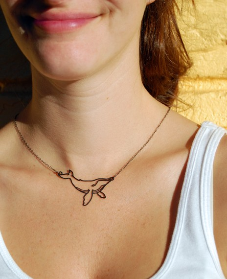 Tiny Stainless Humpback Whale Necklace by megjroberts on Etsy