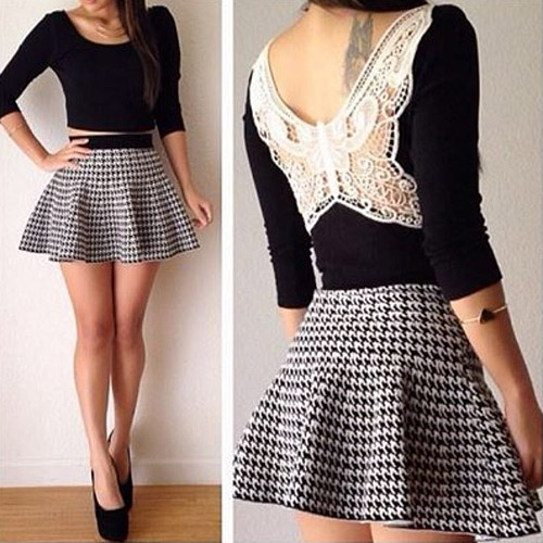 Sexy Backless Tops + Houndstooth High Waist Skirt Two-piece Set - Fashion Dresses - Clothing