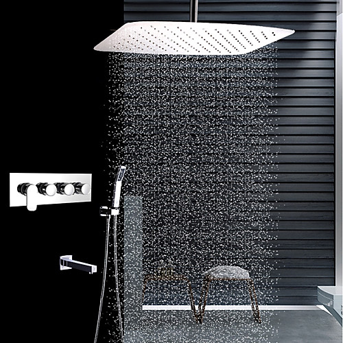 Contemporary Ceiling Mounted Rain Shower Handshower Stainless Steel Shower Faucet- FaucetSuperDeal.com