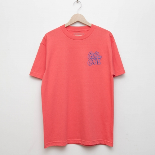 Logo Tee - Coral Red x Blue - cup and cone WEB STORE