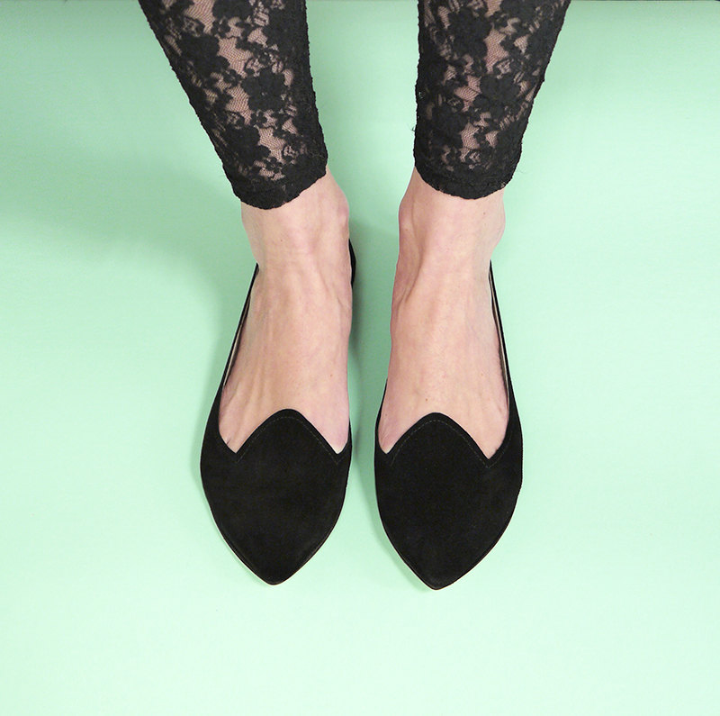Pointy Black Handmade Leather Loafers Slip on Shoes by elehandmade