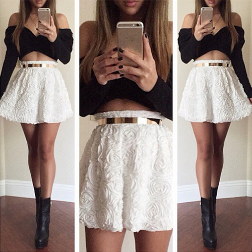 [grxjy56002994]Sexy Off-shoulder Long Sleeve Tops + 3D Flowers Skirt Two-piece Set / pgfancy- fashion online shopping mall