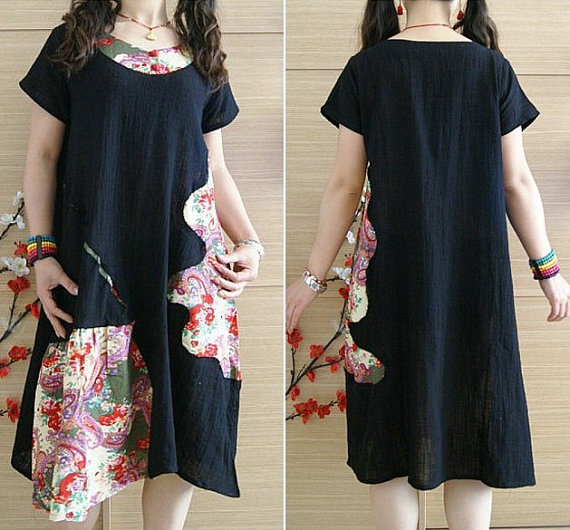 Mini black dress/ Long Patchwork Linen tunic Dress by MaLieb