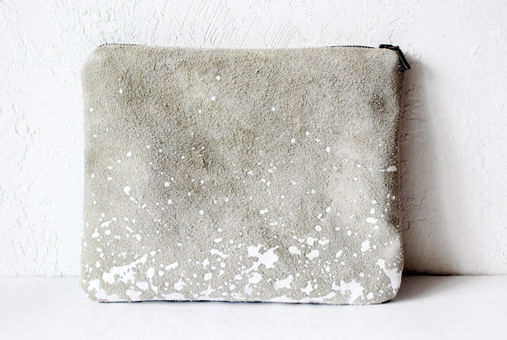 FREE SHIP Splatter LeatherSuede Pouch by Corium on Etsy
