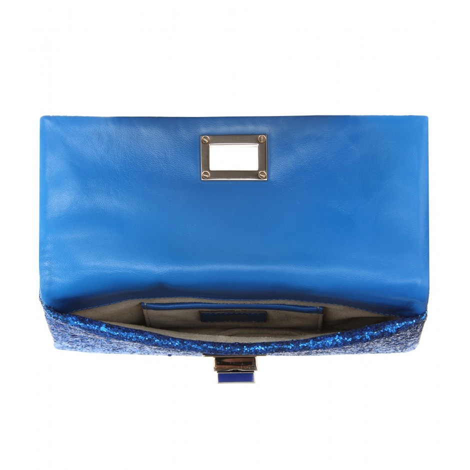 mytheresa.com - Anya Hindmarch - VALORIE PRESSED GLITTER CLUTCH - Luxury Fashion for Women / Designer clothing, shoes, bags