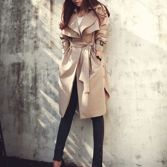 [grxjy560654]Side Split Slim Fashion Long Buckle Belt Lapel Trench Coat / brashycouture