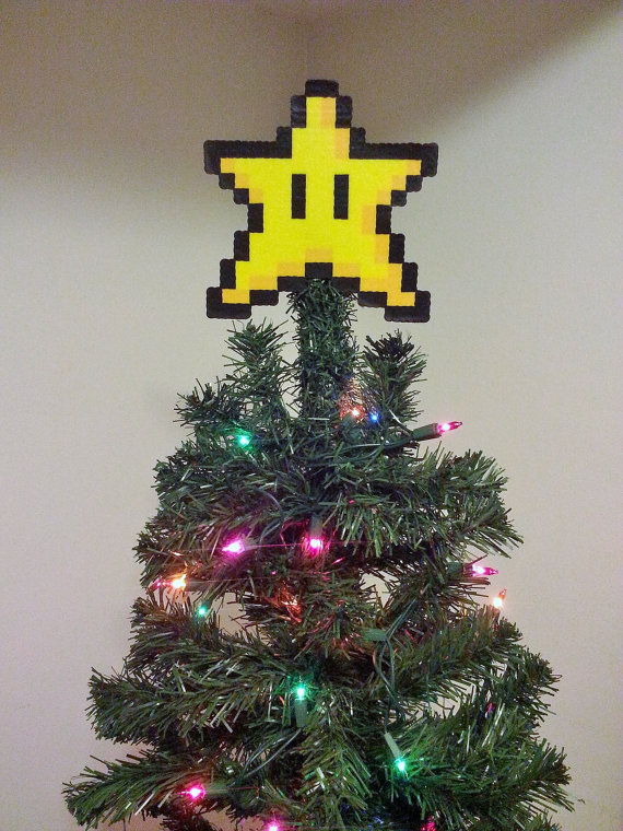 ORIGINAL Mario Bros. Perler Bead Star Christmas by LighterCases