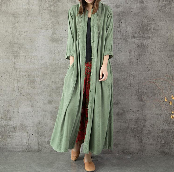 green long Dresses loose cotton and linen single breasted