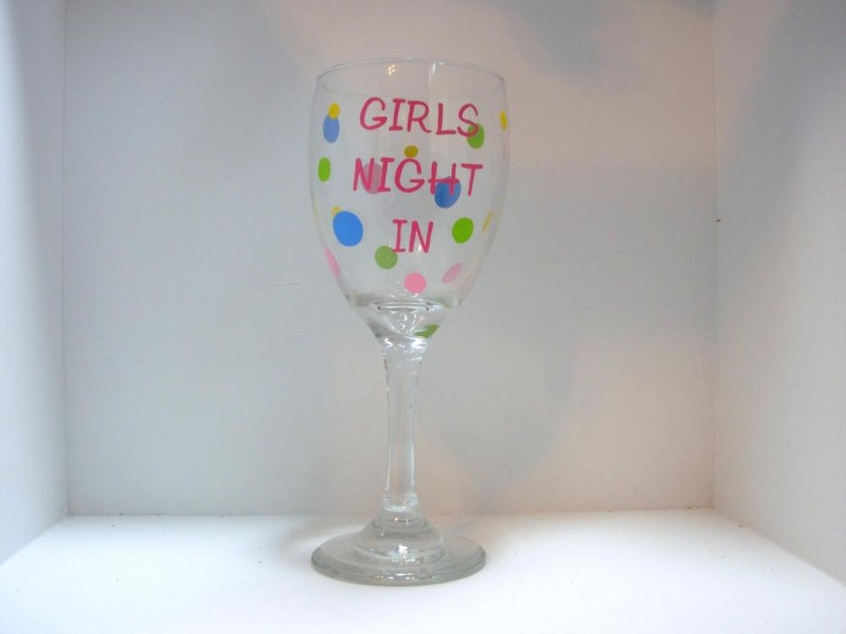 Handpainted Girls Night In Wine Glass Personalized on Luulla