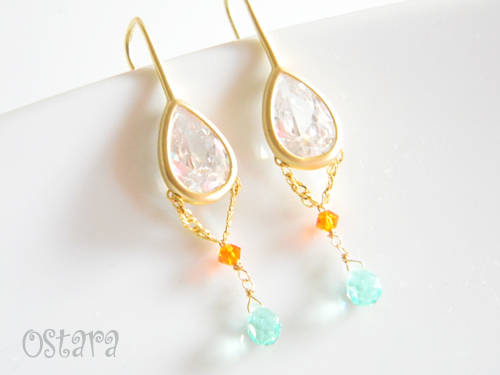 16k Gold Plated Cubic Zirconia Dangle Earrings,14k Gold Filled/16k・22k Gold Plated