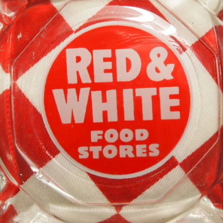 Fire King / Anchor Hocking Red & White Food Stores Ashtray | Jadeite Magic Gallery