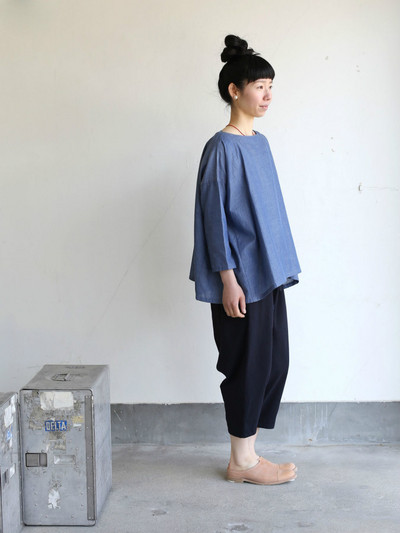 Tent line blouse~cotton ramie twill dungaree - DISPLAY   Matilde